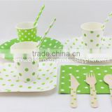 Polka Dot Paper Dinnerware Set / Paper Paper Plate, Paper Cup, Paper Napkin, Paper Straw, Wooden Cutlery