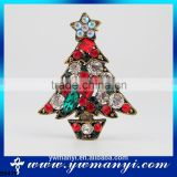 Gold Christmas Tree Pin Brooch Light Blue Green Red Crystals China Wholesale Brooch B0470