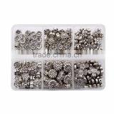 Top Quality Assorted Flower Tibetan Silver Flower Metal Spacer Beads Mix Lot 60pcs per Box For Jewelry Making Findings