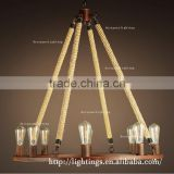 light fixtures wholesale products Wedding decoration round rustic iron hemp rope chandelier