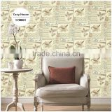 cheap printing pvc wallpaper, apricot yellow trendy bird wall decal for home , removable wall paper ideas