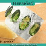 HOT SALE 2015 Hermosa 925 Sterling Silver Green Peridot Bracelets Bangles CUFF Woman Fashion Jewelry