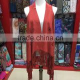 2016 New casual tassels suede shawls with high quality fringe leather in Yiwu