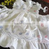 Beautiful Blue Teapots Embroidery Ruffles Full Length Bib Apron