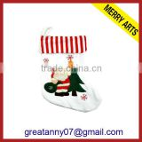 2013 Yiwu hot sale new designs red and white christmas stocking sock with embroidery santa claus and tree