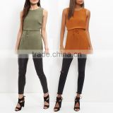 Ladies Sleeveless Solid Plain Chiffon Elastic waist Tunic Blouse Shirt Top Guangzhou Factory Supplier