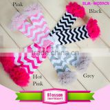 wholesale cotton kid's legwarmer with chiffon ruffle chevron baby legwarmers holiday leggings for children