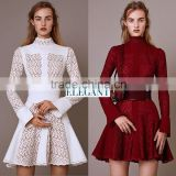 2015 pre-fall autumn fashion womens shearling leather knit sweater ruffles bell sleeves lace turtleneck corset belt flowers