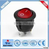 china supplier 250v 3pin round red cover rocker switch t85
