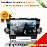 android car video GPS multimedia system for Toyota highlander 2012 Kluger with wifi, bt, dvr, rear view input