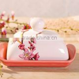 Elegant Ceramic Butter Dish with Peach Flower Decal