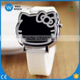 LED007/Cute Cat Face Mirror Dial Quartz Watch Bands Students Children Jelly Watche Silicone 12 Colors Jelly Design LED Digital