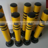 Black and yellow road safety steel warning posts