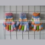 colorful feather yarn striped magic gloves