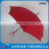 high quality golf wood fiberglass shaft umbrella, can print logo umbrella,UV promotional manual open umbrella