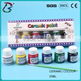 mini ceramic waterproof paint set, ceramic craft paint, ceramic pigments 25ml with plastic box