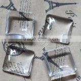 25MM transparent square shape glass cabochon,pendant setting cabochon4140005