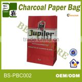 100G BBQ double layer raw material Charcoal kraft paper bag with new design for 5KG charcoal package/coal paper bag