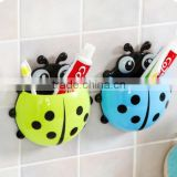 plastic Ladybug strong sucker wall mount toothbrush holder toothpaste holder