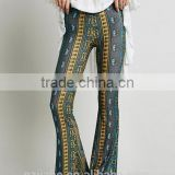 Fashion Hot Sale Paisley Print Stretch Flare Boho Hippie Style Pants Boho Pants Bell Bottom Trousers