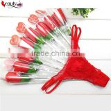 Valentine's Day Gift Cheap Women Thongs Sexy Lace Thongs For Ladies Rose Panties Rolling Pack