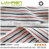 Eco-friendly hemp organic cotton poly jersey strip fabric 173gsm for baby Tshirt