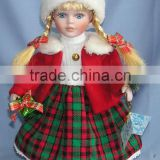Christmas Animated Ceramic Porcelain Doll Blonde Hair Red Velvet Dress 12""