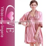 Wholesale accept hot releasing women sexy robe girls nighty satin lingerie silk pajamas