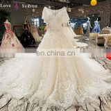 LS00306 beaded gowns wedding dress women turkey new design floor length beaded lace wedding dress