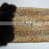Animal prints pashmina shawls with fur ball