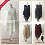 wholesale latest design ladies lace fringe tops crochet trim mesh tassel cover up girls acrylic knit light weight poncho