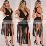 Womens Sexy V Neck Backless Tassels Sexy Night Club Dresses