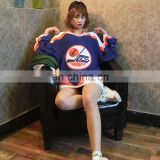 Design polyester fabric dark blue ice hockey jersey plane team
