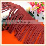 Italy design wholesale burgundy suede leather tassel fringe for jacket/women dresses/woman wear/handbags