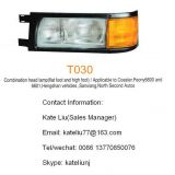 Toyota coaster Combination head lamp(flat foot and high foot)(T030),applicable to coaster,Mudan bus 6600,6601