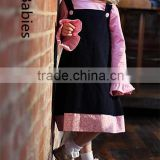 Summer dresses for kids net long sleeves navy/pink A line dress                                                                                                         Supplier's Choice