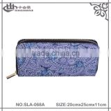 Fashion designed canvas long wallet- printing canvas wallet design and metal zipper around fashion purse