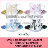 Custom Made Beautiful Personalized Porcelain Coffee Cup Saucer with Good Quality for Gift