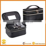 Black Leather makeup vanity case, double room cosmetic bag with mirror,custom make leather cosmetic travel case