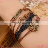 Personalized Multi Layer leather Bracelet Love with owl Bracelet Fashion Bracelet for Couple