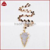 Fashion Jewelry 2016 Genuine Brown Agate Arrowhead Necklaces Agate Jasper beaded Necklace
