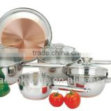 high quality 8Pcs Copper bottom Stainless Steel Cookware/kitchenwar set/cooking pot with copper bottom