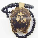 Good quality Hip-hop face Pendant wood Ball Bead Chain Necklaces