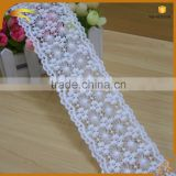 factory sell french Beautiful Flower Design guipure silk fabric by water soluble lace fabric