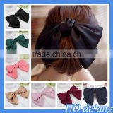 2016 Korean solid color hair accessories wholesale temperament oversize bow headdress cloth hairpin steel hair clips MHo-52