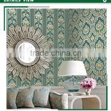 stocklot embossed vinyl coated wallpaper, fashion decoration sticker , peelable wall paper roll