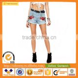 Sexy Hot Slim Fit Embroidered Detail Denim Shorts With Floral Patches For Women Wholesale