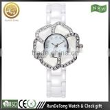 Flower shaped case white color ceramic watch for girls