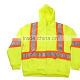 China Wholesale Clothing Cheap High Visible Winter Reflective Jacket Single Brushed Fleece Fashion Hoodie Safety Coat