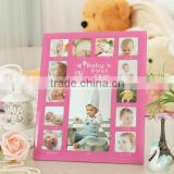 Classic pink girl 1st Year glass Baby Photo Frame Baby 12 Month Photo